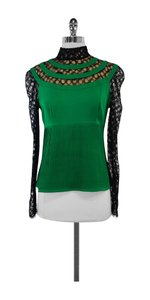 Catherine Malandrino Green Silk Black Lace Top
