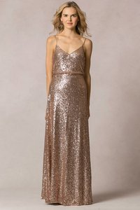 Jenny Yoo Rose Gold Nylon/Sequin 'jules' Blouson Gown Formal Bridesmaid/Mob Dress Size 10 (M)