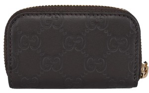 Gucci Gucci 324801 2044 Dark Brown Leather GG Guccissima Mini Zip Coin Purse