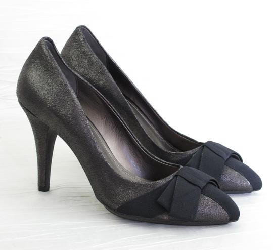 Circa Joan & David Bow Black Crinkle Leather Pumps