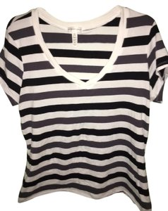 Ambiance Apparel T Shirt White w/ Blk and Gry stripes