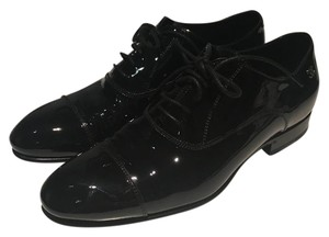 Chanel Patent Laceup Oxfords Black Flats