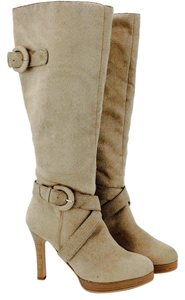 Wild Diva Faux Suede Knee High Leather Beige Boots