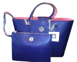 Anne Klein Faux Leather Floral Tote in Navy Blue/Coral