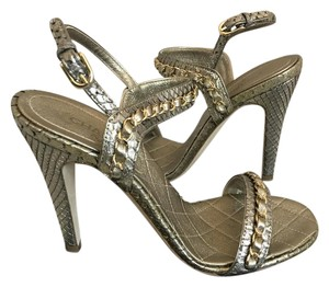 Chanel Python Chain Logo GOLD Sandals
