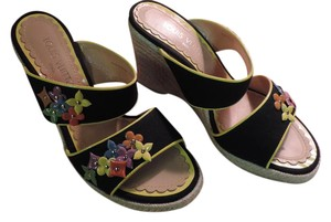 Louis Vuitton Gold Hardware Floral Black Multi Wedges