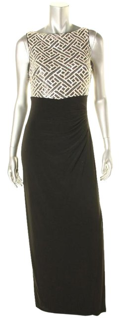 Item - Silver Black Womens Ednella Evening Gown Long Formal Dress Size 10 (M)