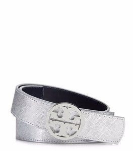 Tory Burch Reversible Belt metallic silver and navy Size small