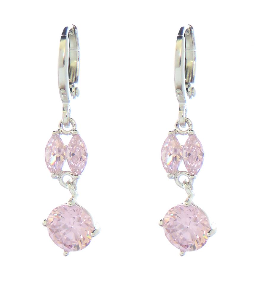 Other Dangle Rhodium Silver Earrings With Pink Cubic Zirconia Stone