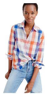 J.Crew Button Down Shirt Orange and blue