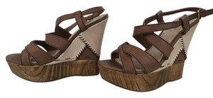 Miu Miu Stitched Leather Leather Strappy Classic Brown Wedges