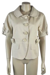 Cynthia Steffe New With Tags Large Buttons Short Sleeve Beige Blazer