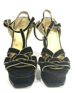 Saint Laurent Tribtoo Heels Black and Gold Sandals
