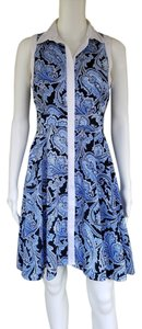 Ann Taylor short dress Blue Shirt Paisley Sleeveless Button Front on Tradesy