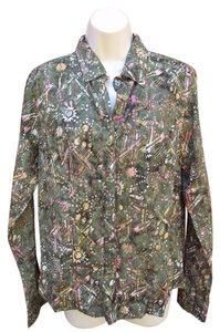 The Territory Ahead Artsy Embroidered Button Blouse Button Down Shirt Green Multi