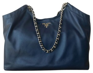 Prada Navy Leather Tote in Blue