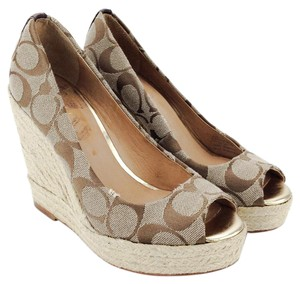 Coach Peep-toe Espadrille Milan Canvas Leather Brown Wedges