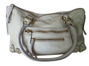 Linea Pelle Domed Stud Hardware Washed Italian Leather Zebra-print Lining Shoulder Bag