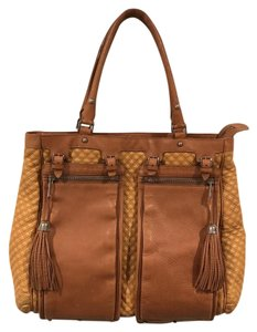 Zac Posen Brown Silver Quilted Tote in Brown Two-Toned