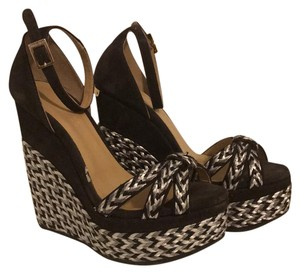 Jimmy Choo Grey suede and black and white raffia weave Wedges