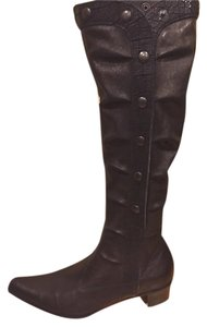 Henry Beguelin Studded Button Up Leather Designer Black Boots