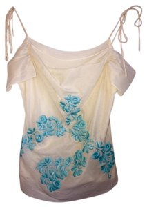 Anthropologie Top Ivory/turquoise