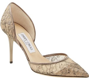 Jimmy Choo Heels Leather Gold Pumps
