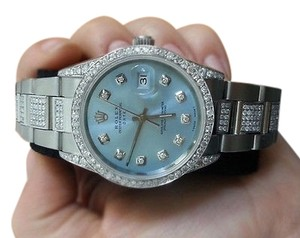 Rolex Exclusive Diamond Rolex 15200 34mm Stainless Steel Watch Baby Blue Diamond Dial