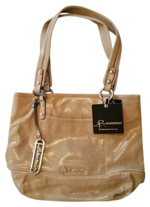 B. Makowsky Suede Tote in beige, cream, shimmer