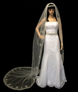 Extravagant Beaded Silver Embroidery Cathedral Wedding Veil