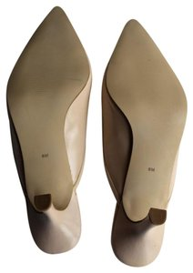 Karen Scott Heels Bow Patent Leather Leather Cream and Tan Mules