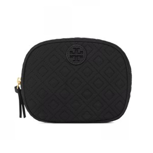 Tory Burch Ella Quilted Cosmetic Case, Black