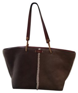 Chloé Aniline Leather Raw Edges Vegetal Calfskin Brass Finishing Roomy Interior Tote in Mahogany