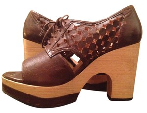 Robert Clergerie Wood Heel Open Toe Sandals Perforated Brown Wedges