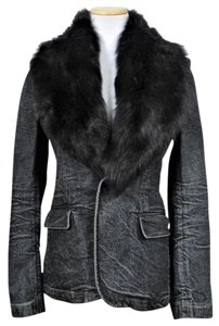 Ralph Lauren Black Label Fur Italian Jacket Denim Fur Coat