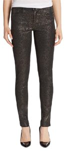 Marchesa Voyage Coated Flocked Skinny Jeans-Coated