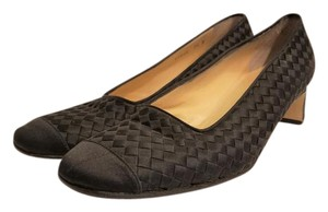 Bottega Veneta Intrecciato Woven Satin Black Pumps