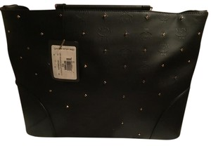 MCM Tote in Black with gold studs