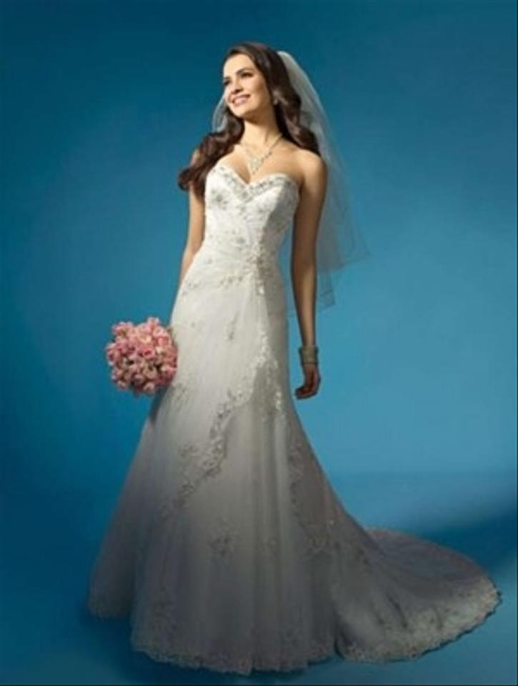 Alfred Angelo White Satin/Tulle/Lace 2134 Formal Wedding Dress Size ...