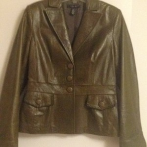 Laundry by Shelli Segal Olive green Leather Jacket