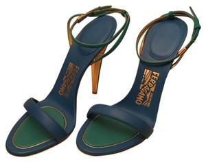 Salvatore Ferragamo blue green gold Sandals
