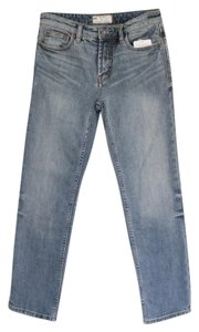 Free People Denim Blue Flare Crop Straight Leg Jeans-Light Wash