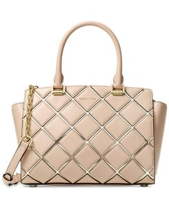 Michael Kors Selma Medium Quilted Look Detail / Satchel in Oyster / Pale Gold