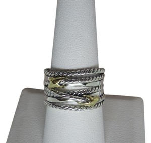 David Yurman like new with pouch Double X Ring With Gold size 8.5