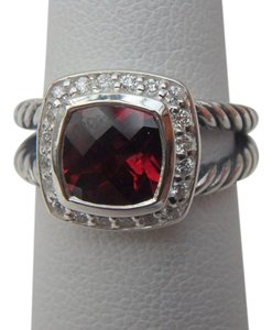 David Yurman size 7 New With Pouch Albion Petite Ring Garnet With Pave Diamonds