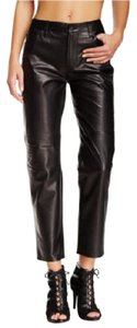 J Brand Leather Boyfriend Pants Black