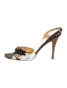 Fendi black and metallic silver Sandals