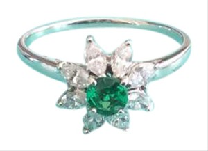 Tiffany & Co. Tiffany & Co Platinum and Diamond Emerald Flower Ring