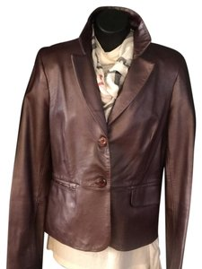 Laundry by Shelli Segal burgundy Leather Jacket