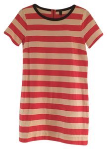 J.Crew short dress Salmon and white stripe with many detailing around the collar on Tradesy